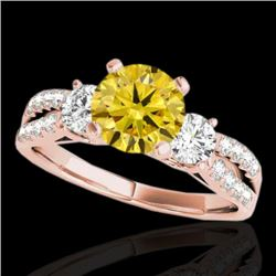 1.5 CTW Certified Si Intense Yellow Diamond 3 Stone Solitaire Ring 10K Rose Gold - REF-172K8W - 3541