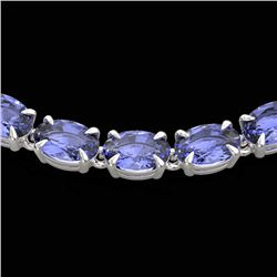40 CTW Tanzanite Eternity Tennis Necklace 14K White Gold - REF-330W5F - 23381