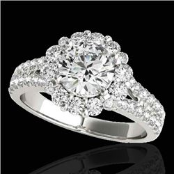 2.01 CTW H-SI/I Certified Diamond Solitaire Halo Ring 10K White Gold - REF-209N3Y - 33931