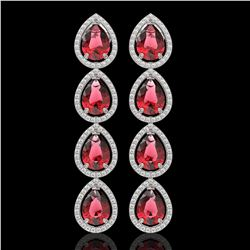 10.48 CTW Tourmaline & Diamond Halo Earrings 10K White Gold - REF-211W8F - 41300