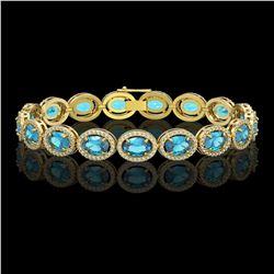 24.32 CTW Swiss Topaz & Diamond Halo Bracelet 10K Yellow Gold - REF-252N8Y - 40636
