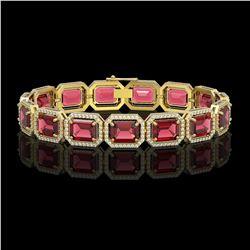 36.51 CTW Tourmaline & Diamond Halo Bracelet 10K Yellow Gold - REF-537A5X - 41542