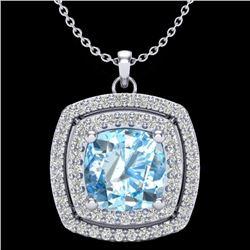 2.08 CTW Sky Blue Topaz & Micro Pave VS/SI Diamond Halo Necklace 18K White Gold - REF-63T3M - 20449