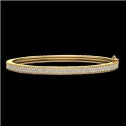 1.50 CTW Micro Pave VS/SI Diamond Bangel Bracelet 14K Yellow Gold - REF-176N2Y - 20035