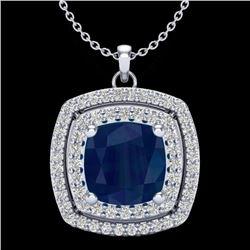 2.52 CTW Sapphire & Micro Pave VS/SI Diamond Halo Necklace 18K White Gold - REF-76F4N - 20463