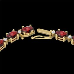 33 CTW Garnet & VS/SI Diamond Eternity Tennis Necklace 10K Yellow Gold - REF-149T3M - 21596