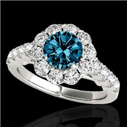 3 CTW Si Certified Fancy Blue Diamond Solitaire Halo Ring 10K White Gold - REF-296X9T - 33558