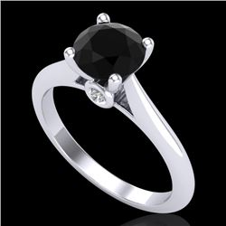 1.36 CTW Fancy Black Diamond Solitaire Engagement Art Deco Ring 18K White Gold - REF-89Y3K - 38206