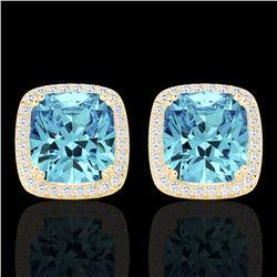 6.50 CTW Sky Blue Topaz & Micro VS/SI Diamond Halo Earrings 18K Yellow Gold - REF-75M6H - 22814