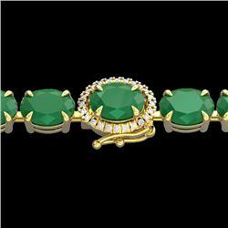 23.25 CTW Emerald & VS/SI Diamond Tennis Micro Pave Halo Bracelet 14K Yellow Gold - REF-178W2F - 402