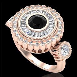 2.62 CTW Fancy Black Diamond Solitaire Art Deco 3 Stone Ring 18K Rose Gold - REF-254F5N - 37920