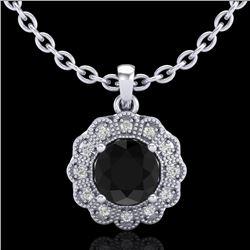 1.15 CTW Fancy Black Diamond Solitaire Art Deco Stud Necklace 18K White Gold - REF-89F3N - 37842