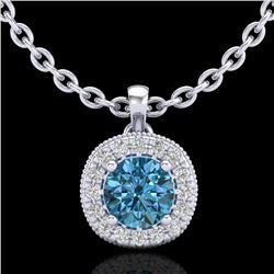 1.1 CTW Fancy Intense Blue Diamond Solitaire Art Deco Necklace 18K White Gold - REF-136M4H - 37999
