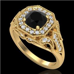 1.75 CTW Fancy Black Diamond Solitaire Engagement Art Deco Ring 18K Yellow Gold - REF-136F4N - 38278