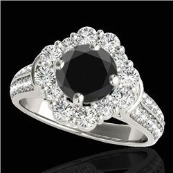 2.16 CTW Certified VS Black Diamond Solitaire Halo Ring 10K White Gold - REF-112Y4K - 33952