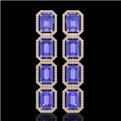 19.39 CTW Tanzanite & Diamond Halo Earrings 10K Rose Gold - REF-418K5W - 41580