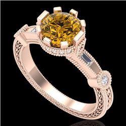 1.71 CTW Intense Fancy Yellow Diamond Engagement Art Deco Ring 18K Rose Gold - REF-327Y3K - 37862