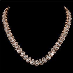 34.83 CTW Pear Diamond Designer Necklace 18K Rose Gold - REF-6349A3X - 42768