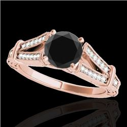 1.25 CTW Certified VS Black Diamond Solitaire Antique Ring 10K Rose Gold - REF-64N8Y - 34661