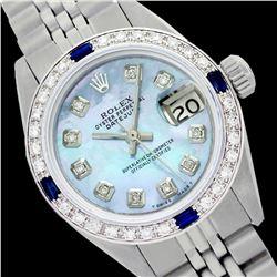 Rolex Ladies Stainless Steel, Diam Dial & Diam/Sapphire Bezel, Sapphire Crystal - REF-428W5H