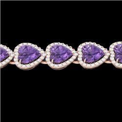 23 CTW Amethyst & Micro Pave Bracelet Heart Halo 14K Rose Gold - REF-378F5N - 22610