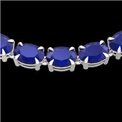 68 CTW Sapphire Eternity Designer Inspired Tennis Necklace 14K White Gold - REF-234A9X - 23403