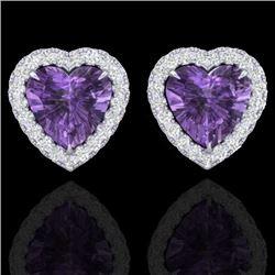 2 CTW Amethyst & Micro Pave VS/SI Diamond Earrings Heart Halo 14K White Gold - REF-42T8M - 21199