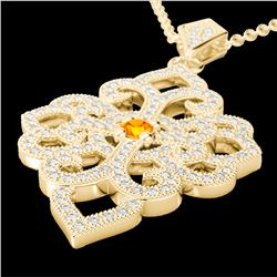 1.40 CTW Citrine & Micro Pave VS/SI Diamond Designer Necklace 14K Yellow Gold - REF-127M3H - 22554