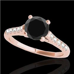 1.2 CTW Certified VS Black Diamond Solitaire Ring 10K Rose Gold - REF-48F2N - 34974