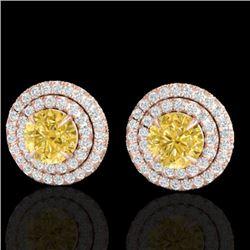 2 CTW Citrine & Micro Pave VS/SI Diamond Stud Earrings Double Halo 14K Rose Gold - REF-79K8W - 21466