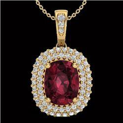 2.60 CTW Garnet & Micro Pave VS/SI Diamond Halo Necklace 10K Yellow Gold - REF-65K5W - 20409