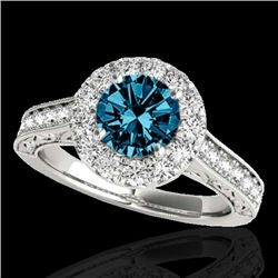 1.7 CTW Si Certified Fancy Blue Diamond Solitaire Halo Ring 10K White Gold - REF-178W2F - 33729