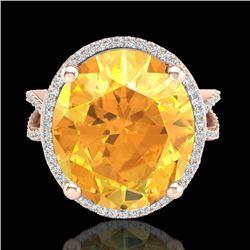 10 CTW Citrine & Micro Pave VS/SI Diamond Halo Ring 14K Rose Gold - REF-70T9M - 20957