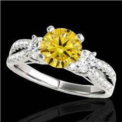 1.75 CTW Certified Si/I Fancy Intense Yellow Diamond 3 Stone Ring 10K White Gold - REF-216K4W - 3541