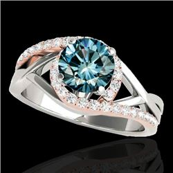 1.3 CTW Si Certified Fancy Blue Diamond Bypass Solitaire Ring 10K White & Rose Gold - REF-165N8Y - 3