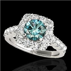 2.5 CTW Si Certified Fancy Blue Diamond Solitaire Halo Ring 10K White Gold - REF-230K9W - 33348