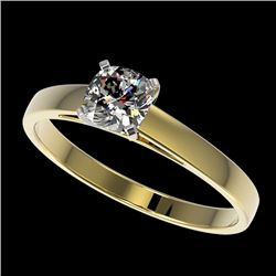 0.50 CTW Certified VS/SI Quality Cushion Cut Diamond Solitaire Ring 10K Yellow Gold - REF-64W3F - 32