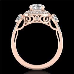 2.05 CTW VS/SI Diamond Solitaire Art Deco 3 Stone Ring 18K Rose Gold - REF-490W9F - 37263