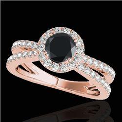 1.55 CTW Certified VS Black Diamond Solitaire Halo Ring 10K Rose Gold - REF-80K5W - 33850