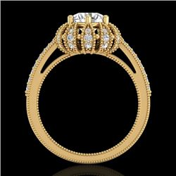 1.65 CTW VS/SI Diamond Solitaire Art Deco Micro Pave Ring 18K Yellow Gold - REF-427K3W - 36994