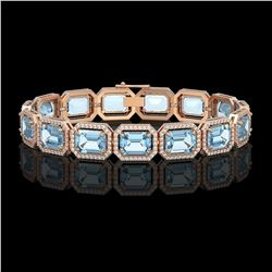 35.61 CTW Sky Topaz & Diamond Halo Bracelet 10K Rose Gold - REF-323X6T - 41553