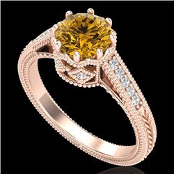 1.25 CTW Intense Fancy Yellow Diamond Engagement Art Deco Ring 18K Rose Gold - REF-195M5H - 37526