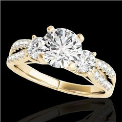 1.5 CTW H-SI/I Certified Diamond 3 Stone Ring 10K Yellow Gold - REF-172Y8K - 35405