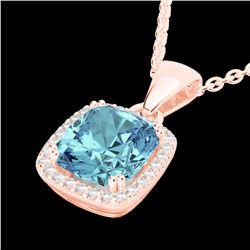 3.50 CTW Sky Blue Topaz & Micro VS/SI Diamond Halo Necklace 14K Rose Gold - REF-41Y8K - 22833