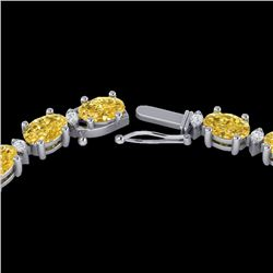 28 CTW Citrine & VS/SI Diamond Eternity Tennis Necklace 10K White Gold - REF-146W5F - 21590