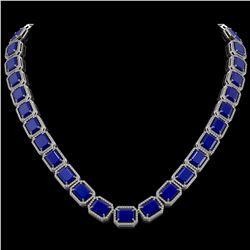 84.94 CTW Sapphire & Diamond Halo Necklace 10K White Gold - REF-859X5T - 41480