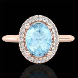 1.50 CTW Aquamarine & Micro VS/SI Diamond Ring Solitaire Halo 14K Rose Gold - REF-47H8A - 21000