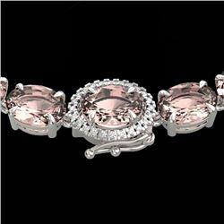 64 CTW Morganite & VS/SI Diamond Tennis Micro Halo Necklace 14K White Gold - REF-637K3W - 23468