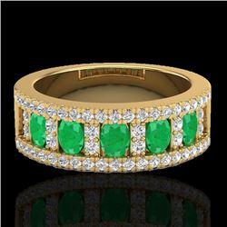 2.34 CTW Emerald & Micro Pave VS/SI Diamond Designer Ring 10K Yellow Gold - REF-67A3X - 20825