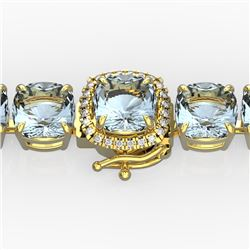 35 CTW Aquamarine & Micro VS/SI Diamond Halo Designer Bracelet 14K Yellow Gold - REF-304H8A - 23301